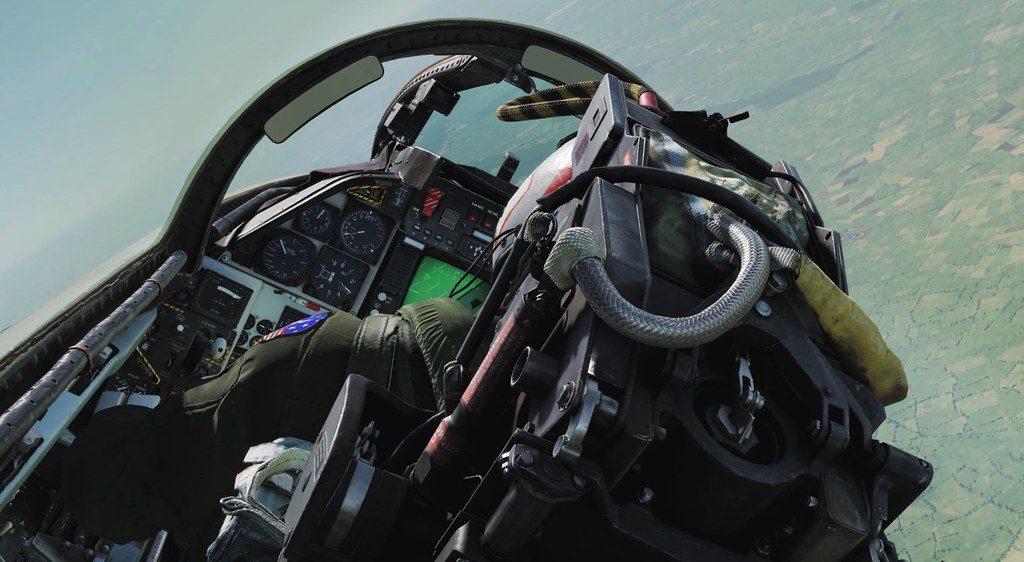 Cabina del piloto del avión Tomcat